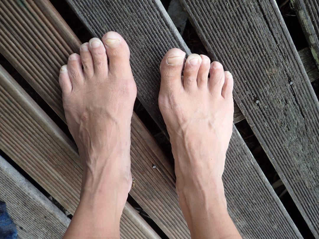 Bättre begagnade fötter efter 30 kilometer spöregn.