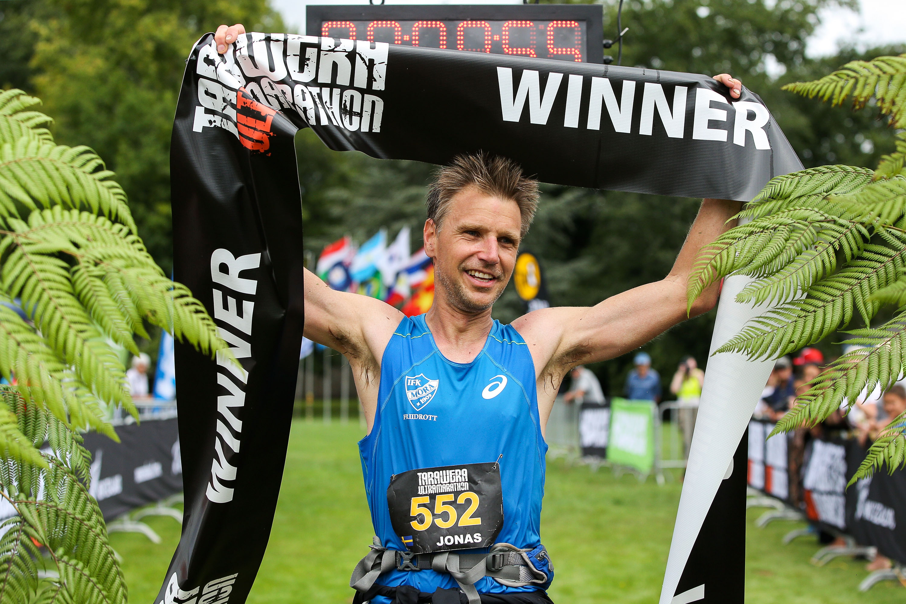 ROTORUA, NEW ZEALAND - FEBRUARY 06: Jonas Buud of Sweden celebrates after winning the Tarawera Ultramarathon on February 6, 2016 in Rotorua, New Zealand. (Photo by Hagen Hopkins/Getty Images) *** Local Caption *** Jonas Buud